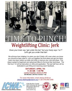 Weightlifting Clinic  Jerk page 001 237x300 Upcoming Programs & Events
